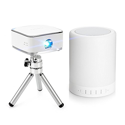 Lightwish Mini Portable Wireless DLP Projector with Mini Tripod,Remote,Night Light Bluetooth Speaker for Apple iPhone 6 6plus 5s Android iOS