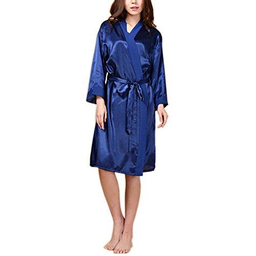 ロングスリーブガーゼパジャマトラックスーツルーズなナイトバスバスローブSPA Robes -Blue