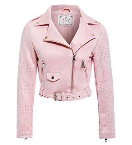 Rose femmes Veste NEUF SS7 Faux MOUTARDE 8 10 taille motard Femmes 14 Daim 12 rose 6pWawSq