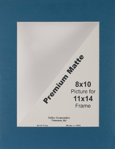 "CALLEN CORPORATION Photo Mat 11""X14"" Single Hand-Cut W/Bevel Edge, Dark Blue (Navy) W/White Core"