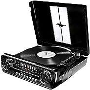 Toca-Discos Vinil com Conversão Digital, Rádio, USB e Entrada Auxiliar, Ion, MUSTANGLP_BLK, Preto
