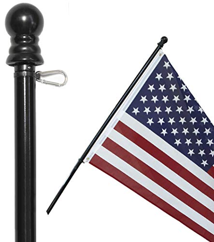 American Signature 6 ft Aluminum Tangle Free Spinning Flag Pole with Carabiners - New Enhanced Design Outdoor Wall Mount Flag Pole for Residential or Commercial (Black, 6')