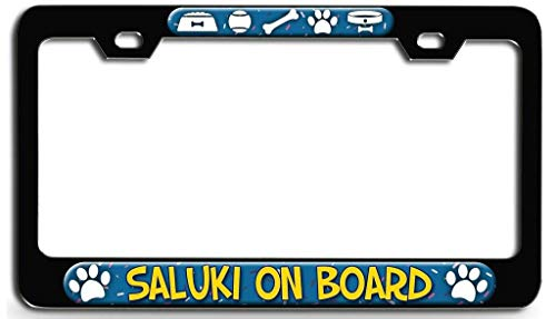 YEX Abstract Saluki On Board Dog(3) License Plate Frame Car Licence Plate Covers Auto Tag Holder 6