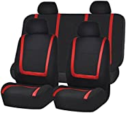 FH-FB032114 Unique Flat Cloth Seat Cover w. 4 Detachable Headrests and Solid Bench Red/Black