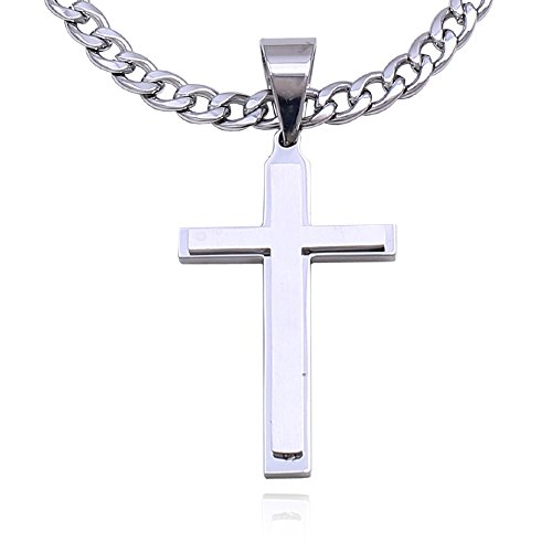 Double Rainbow Jewelry C08S-P32S Men Stainless Steel Silver Cross Pendant Cuban Necklace Chain Link (22)