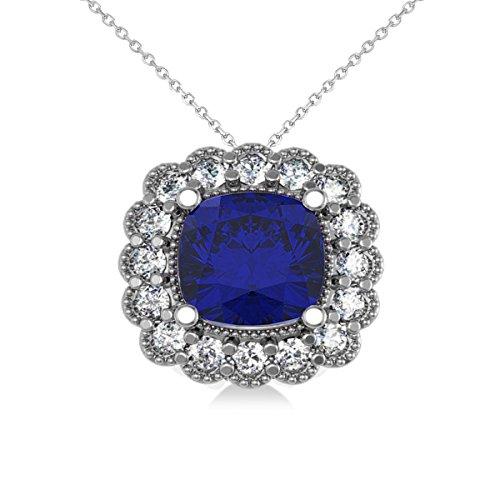 Allurez Blue Sapphire and Diamond Floral Cushion Halo Pendant Necklace 14k White Gold (3.16ct)
