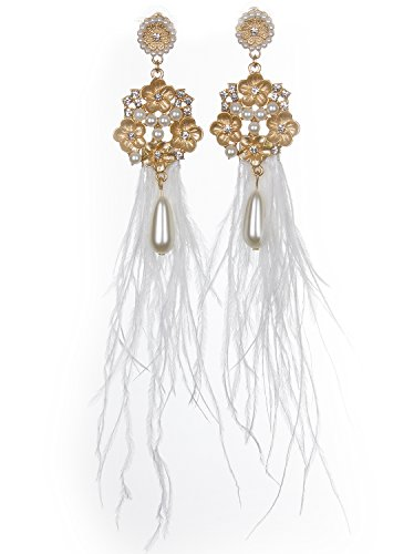 Vijiv 1920s Long Drop Tassel Gatsby Earrings 20s Flapper Jewelry Costume (1920s Costume Jewelry)