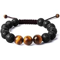 Bella.Vida Balance Mens Natural 12mm Ti'ger Eye Lava Stones Healing Energy Beads Yoga Handmade Meditation Braided Bracelet
