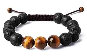 "Bella.Vida Balance 12mm Beads Mens Handmade Natural Tigers Eye Lava Stone Healing Energy Chakra Tao Mala Meditation Bracelet 8"""