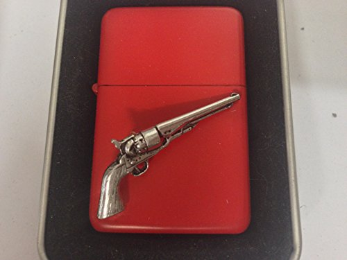 G17 Antique Revolver emblem on a flip top petrol lighter windproof red...