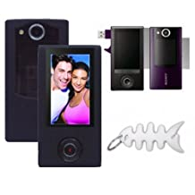 Black Soft Silicone Skin Case + Screen Protector for Sony Bloggie Duo Camera MHS-FS2 4GB 2 Hours Digital Video Camera Pocket Camcorder
