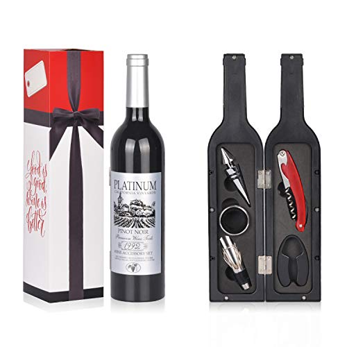 (Wine Accessories Gift Set - 5 Pcs Deluxe Wine Corkscrew Opener Sets Bottle Shape in Elegant Gift Box, Great Wine Gifts Idea for Wine Lovers, Friends, Christmas, Anniversary)