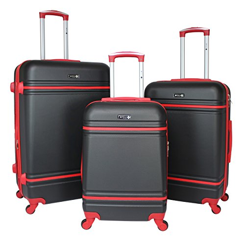 World Traveler American Collection 3-Piece Spinner Luggage-Black Red