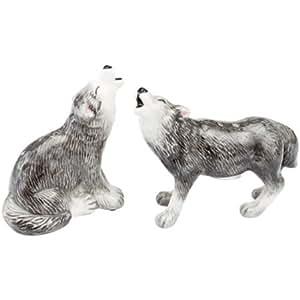 """Andrea Sadek Ceramic 3"""" Gray Wolves Salt Pepper Shakers #61243"""