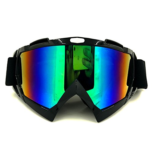 Motorcycle Goggles Dirt Bike Goggles 4-FQ Anti UV Safety Goggles Anti Scratch Motocross Goggles Dustproof Motorcycle Glasses Motorbike Goggles for Cycling Riding Climbing Skiing-Colorful Lens