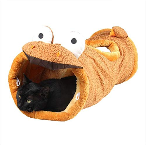 B Cat Tunnel Larger Foldable cat toy with 2 ways and 2 caves for small medium and big cats, kittens (Style   B)