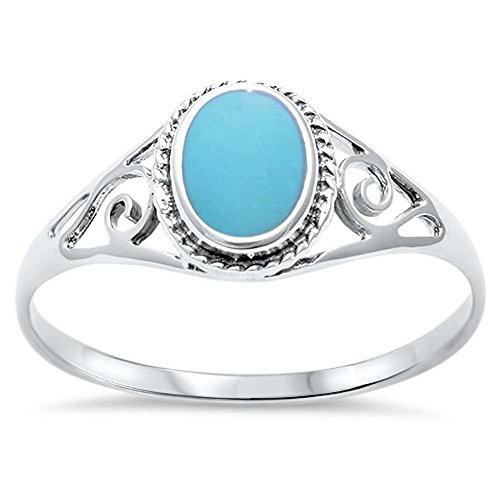(Sterling Silver Oval Turquoise Ring Sizes 6)