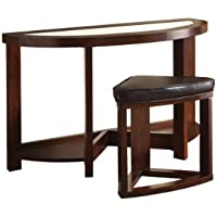 Furniture of America 2-Piece Clover Beveled Glass Top Sofa Table with Stool Set, Dark Walnut