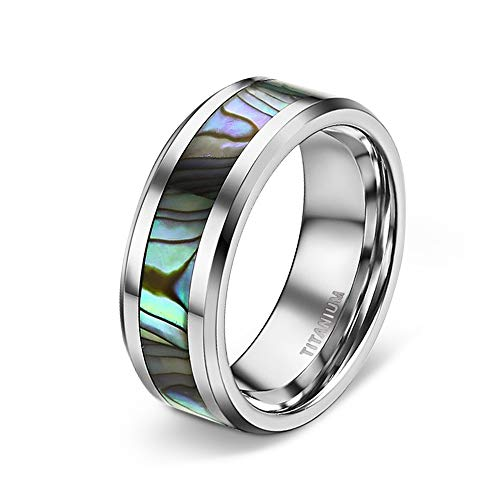 TIGRADE 6MM/8MM Titanium Wedding Band Abalone Shell Inlay Ring for Men Women Couple Size11