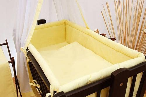5 Pcs Crib Bedding Set with All-Round Bumper 90x40 cm Plain White