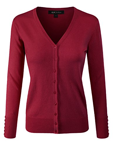 ELF FASHION Women Top Long Sleeve Button V-Neck Knit Sweater Cardigan (Size S~3XL) RED S (Sleeve Cardigan 3/4 V-neck)