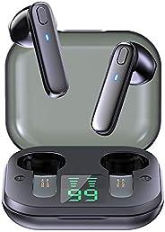 YIFAFA Fones de ouvido sem fio verdadeiros, fones de ouvido Bluetooth 5.0 com graves potentes, tela digital LE