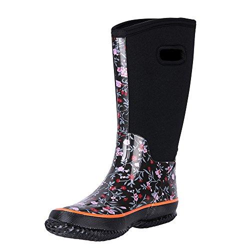 WTW Women's Rain Boots Rubber Mid Calf Winnter Protection up to -22 Fahrenheit (Size 8)