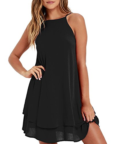Gathered Halter Mini Dress - ZANZEA Womens Flowy Cami Dress Sexy Summer Beach Sundress Chiffon Spaghetti Strap Mini Short Dress Causal Black 2XL