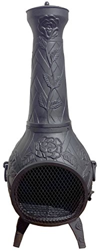Chiminea Outdoor Fireplace Wood Burning Rose Design Best Gas Fire