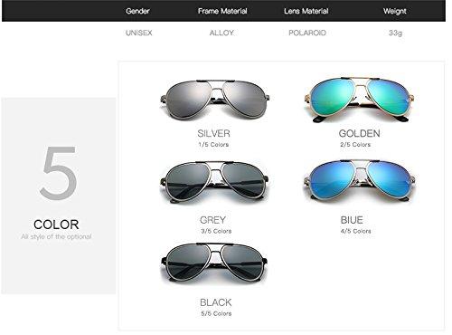 Gafas Shuo Sol New polarizado para Blue Pilot Gafas Sol de Hombres diseñador Sunglass Marca Color Gafas Espejo Gafas de de Hombre Sol Gray Espejo de lan de Retro Nuevas wgXqwC