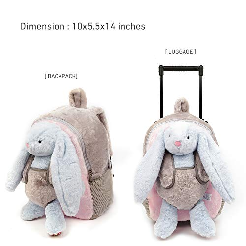 Funday 3-Way Toddler Backpack with Removable Wheels - Little Kids Luggage Backpack with Stuffed Animal Toy Light Blue Rabbit for Toddler Boys and Girls