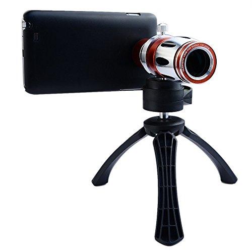 Apexel Schutzhülle Ultra Beast Lupe Zoom Manueller Fokus Teleobjektiv-Set mit Back Cover Case für Apple iPhone 7, rot / silber, 17X