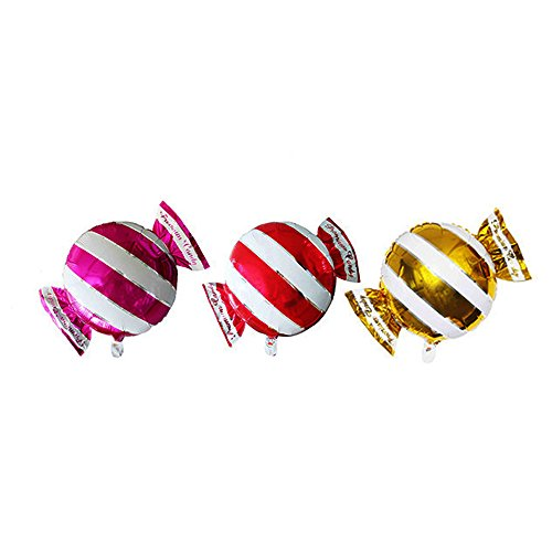 2 Kind of Multi-Color Candy Shape Foil Balloons Aluminum Film Balloons Camouflage Cartoon Toy Birthday Party Decoration (Stripe) (Candy Foil Roll)