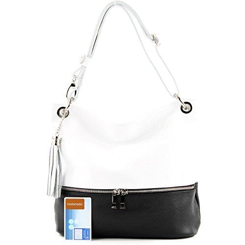 señoras T143 hombro de bolso de ital cuero bolso bolso bolso de cuero de del modamoda del del Schwarz Weiß de qwBETS