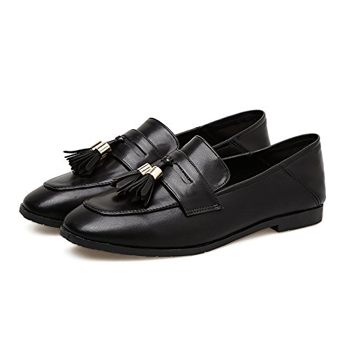 Btrada Womens Classic Tassel Penny Loafers Shoes Casual Moccasins Driving Flat Slip On Oxford Shoes Black BJKFct