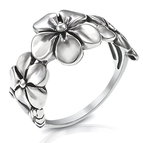 - 925 Sterling Silver Triple Plumeria Flower Ring - Size 9