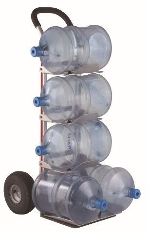 Bottled Water HandTruck Flat Top Handle 14x12 Nose 10'' Pneumatic (Air Filled) Tire With 4 Trays 128-H-1060-BW