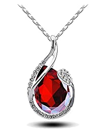 Fashion 18K White Gold Plated Glass Crystal Jewelry Drop Pendant Necklace for Women Color Red