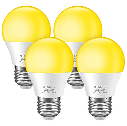 Minger Bug Light Bulb Yellow LED Bulbs, Amber Bug Free Light Bulb Outdoor Porch Lights LED Warm Bulb 40W Equivalent (5W 550Lumens E26/E27), Outdoor Lighting Lamp for Patio Hallway (Free Light Bulb)
