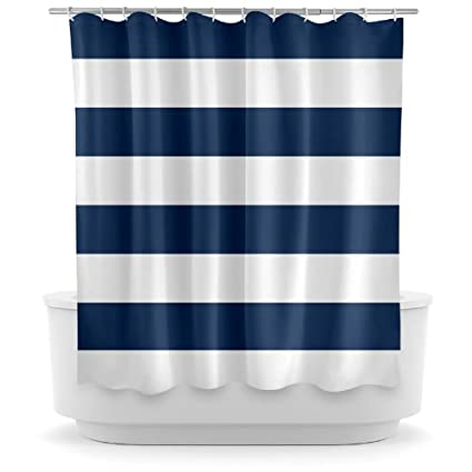 navy blue and white striped shower curtain. Opima Navy Blue and White Striped Shower Curtain Amazon com  Home