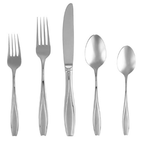 Gorham Silver Flatware Patterns - Gorham Tulip Frosted Stainless Flatware 5-Piece Place Setting, Service for 1