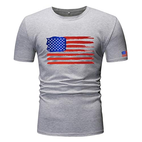 (YOCheerful Men Tops Summer Slim Fit Blouses Short Sleeve T-Shirt Printed O-Neck Tops Independence Day Tops(Gray, S))