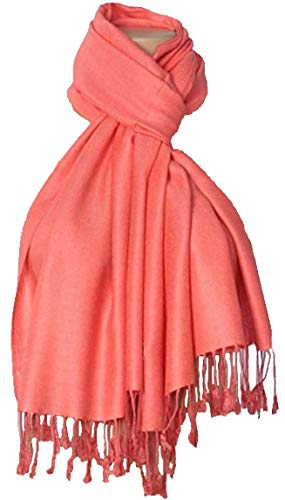 C-More Elegant Pashmina Silk Blend Soft Wrap Scarf Shawl For Women -30+ Solid Colors (Bright Coral)