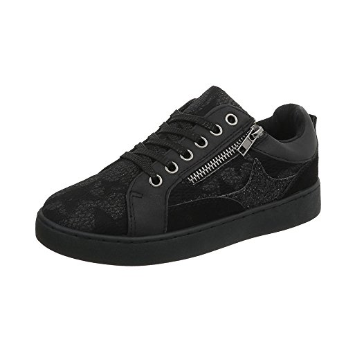 design Chaussures Baskets Plat Femme 744 Low Espadrilles Sneakers Ital Noir Mode B6dtx5Bw