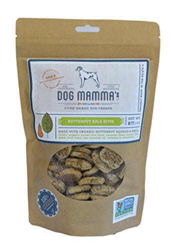 Deliciously Healthy Dog Biscuits - Dog Mamma's Organic Dog Treats - Butternut Kale Bites - 8 oz Butternut Squash & Kale ALL NATURAL Treats NO CHEMICALS or PRESERVATIVES NO GMO's Made in USA 100% Organic Ingredients