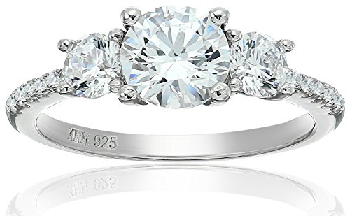 Amazon Collection Cubic Zirconia Three stone Plus in Sterling Silver Engagement Ring, Size (Cubic Zirconia Three Prong)
