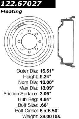 Centric Parts 122.67027 Brake Drum Power Slot