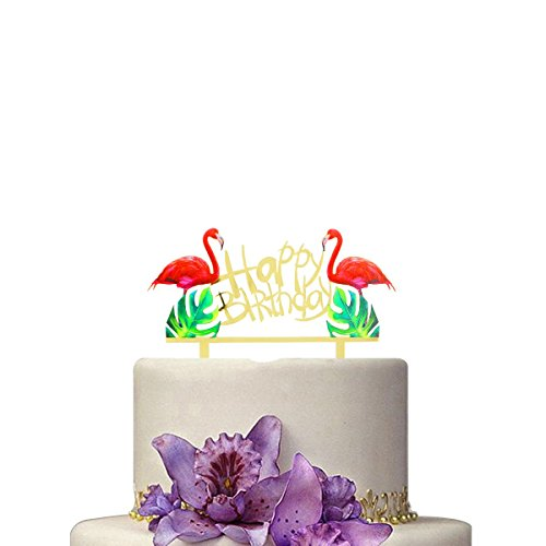 Hawaii Flamingo Happy Birthday Cake Toppers and Wrappers Hawaii Luau Party Supplies by Huuflyty