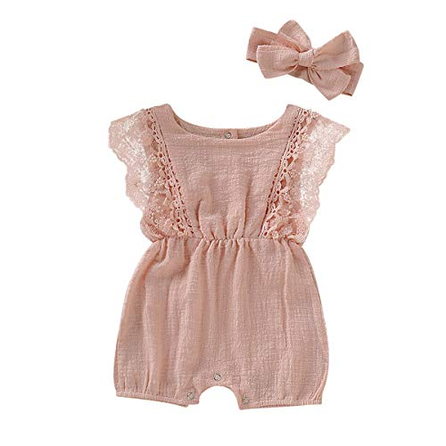 ZOELNIC Infant Girl Linen Romper Baby Girls Sleeveless Lace Jumpsuit + Bow Headband Toddlder Kids Overalls Summer Outfits (Pink, 18-24 Months) ()