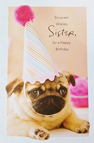 Sincerest Wishes SISTER for a Happy Birthday Greeting Card w/ Party Pug Dog